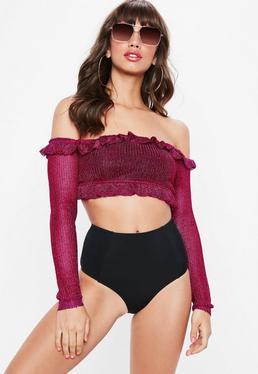 Różowy krótki sweter bardot