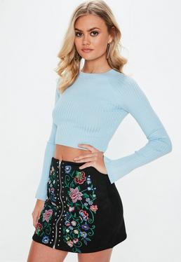 Blue Crew Neck Ribbed Crop Knitted Jumper