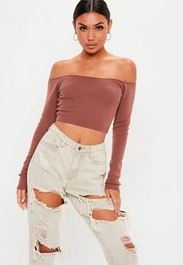 Mocha Bardot Knitted Cropped Jumper