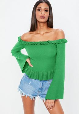 Jersey corto bardot de punto en verde