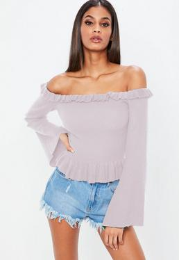 Lilac Frill Bardot Flare Sleeve Knitted Crop