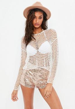 Biały szydełkowy sweter