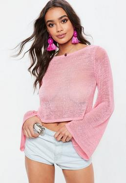 Pink Tie Back Flare Sleeve Sweater