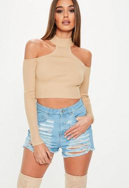 Brown High Neck Bardot Knitted Crop Top