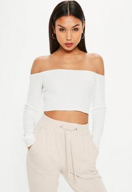 White Bardot Crop Knitted Top