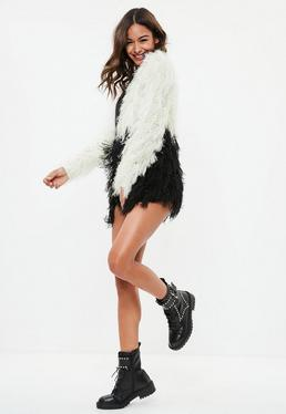 Black Monochrome Longline Shagy knitted Cardigan