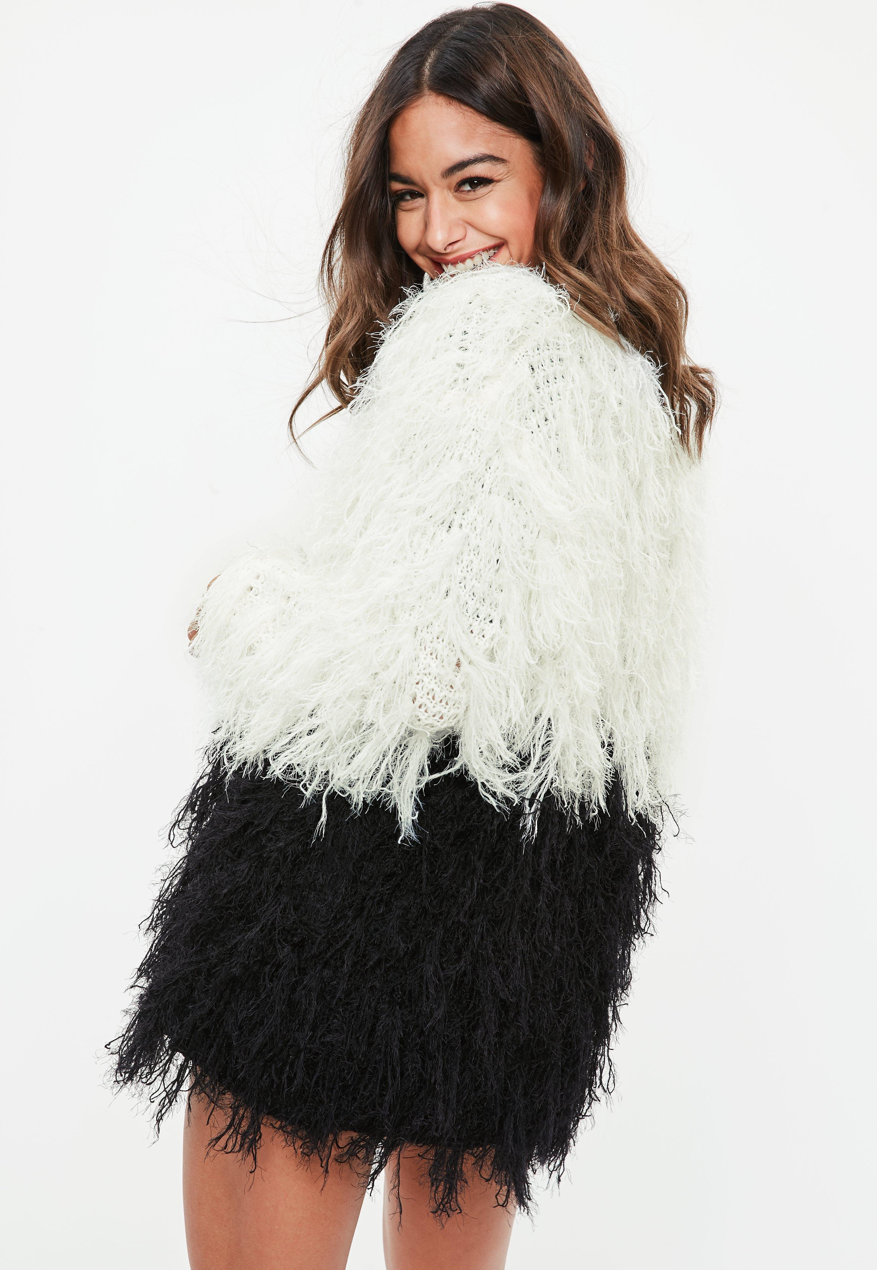 Missguided Monochrome Longline Shaggy knitted Cardigan Pictures Online kmaZC