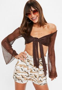 Bronze Metallic Flared Sleeve Knitted Tie Front Crop Top