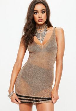Rose Gold Metallic Knitted Plunge Dress