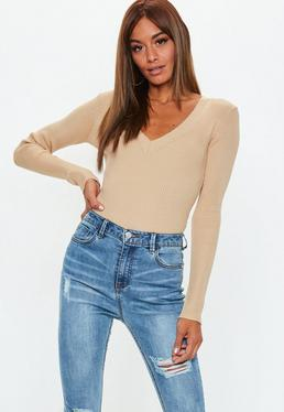 Camel ultimate plunge knitted bodysuit
