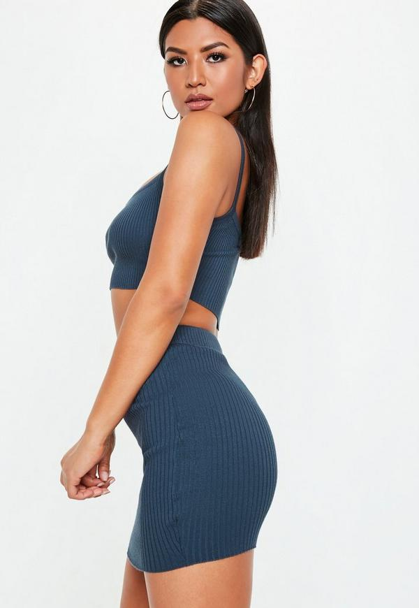 36cd5893e blue knitted ribbed mini skirt co ord | Missguided