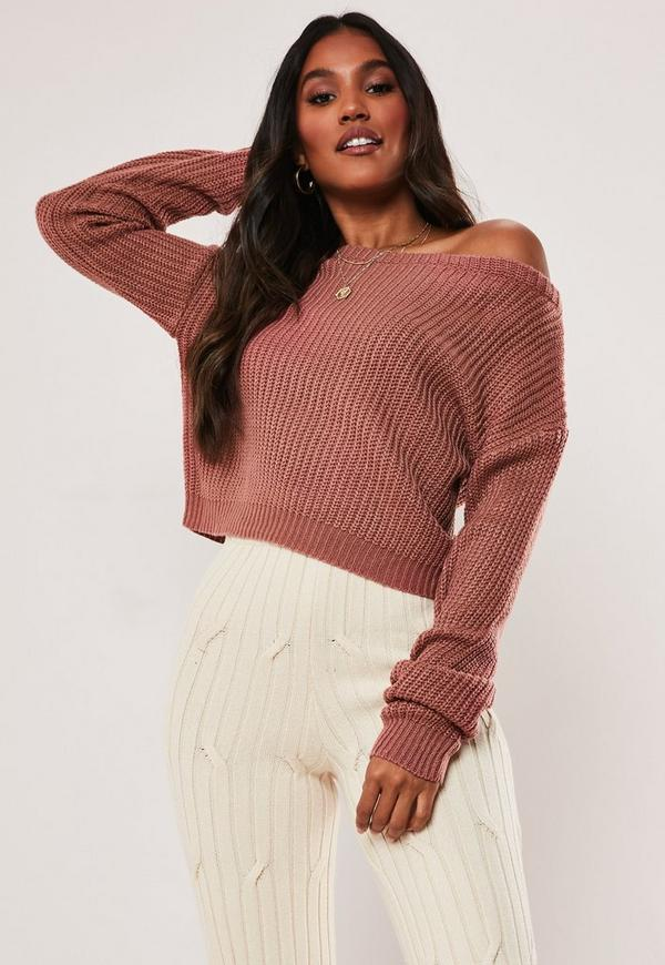 Pink Cropped Off The Shoulder Sweater by Missguided
