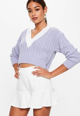 Jersey de punto corto con ribete en lila