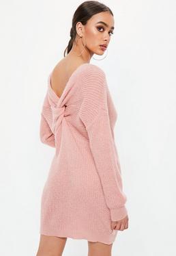 Pink Fluffy Twist Back Sweater Dress