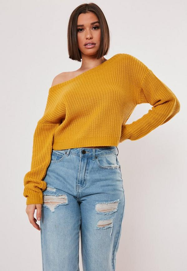 97ac0789b6e2 Mustard Yellow Crop Off Shoulder Jumper