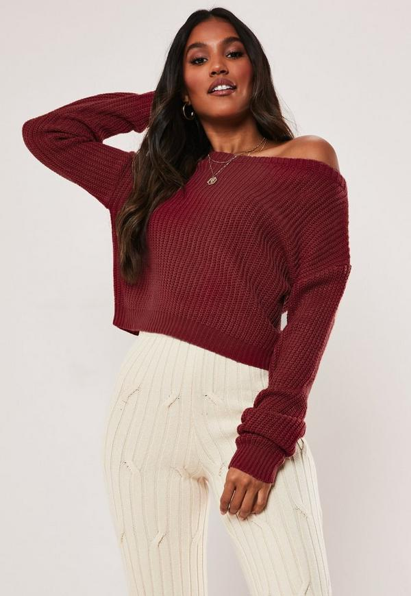 8b37d27ca12 black flared cropped jumper. $24.00. burgundy off shoulder knitted jumper