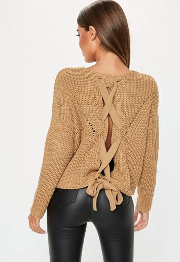 Camel Lace Up Back Chunky Knitted Jumper Missguided