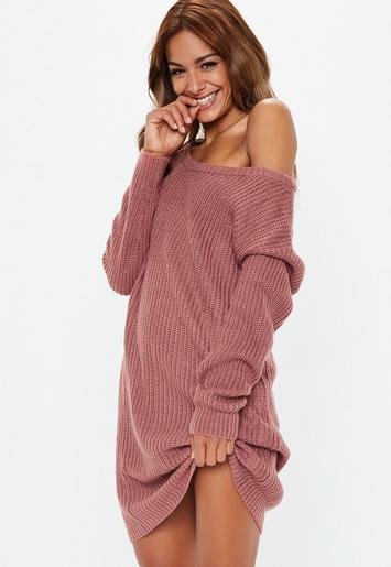 Rose Off Shoulder Knitted Jumper Dress Missguided Australia