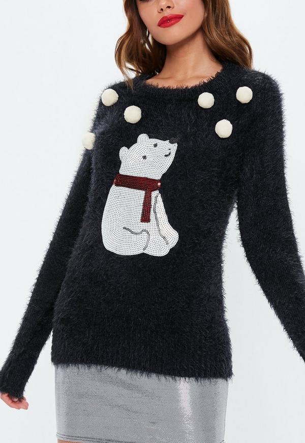 black polar bear fluffy knitted christmas sweater previous next - Black Christmas Sweater