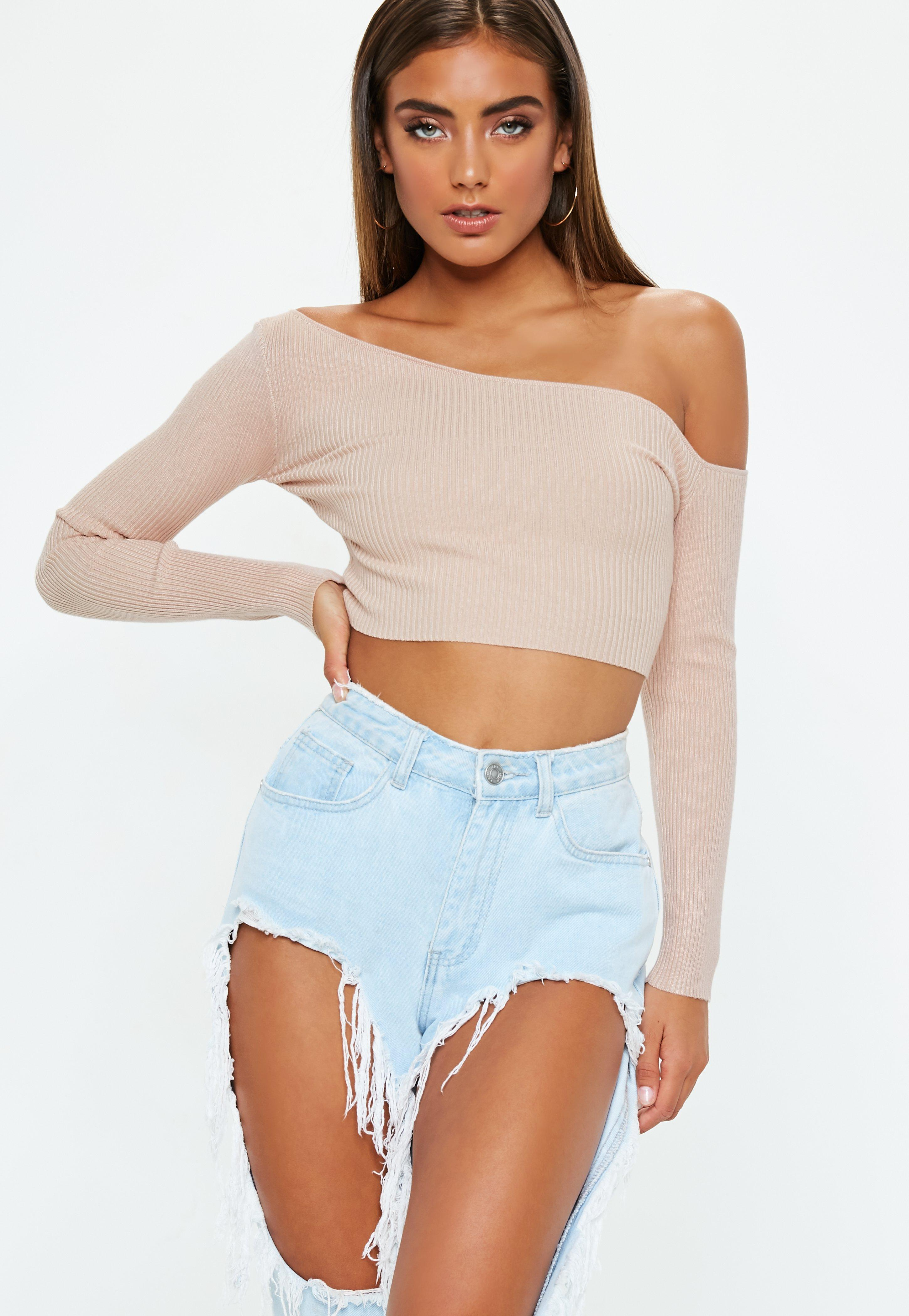 1f4e72f890d Nude Ribbed Cropped One Shoulder Knitted Top | Missguided