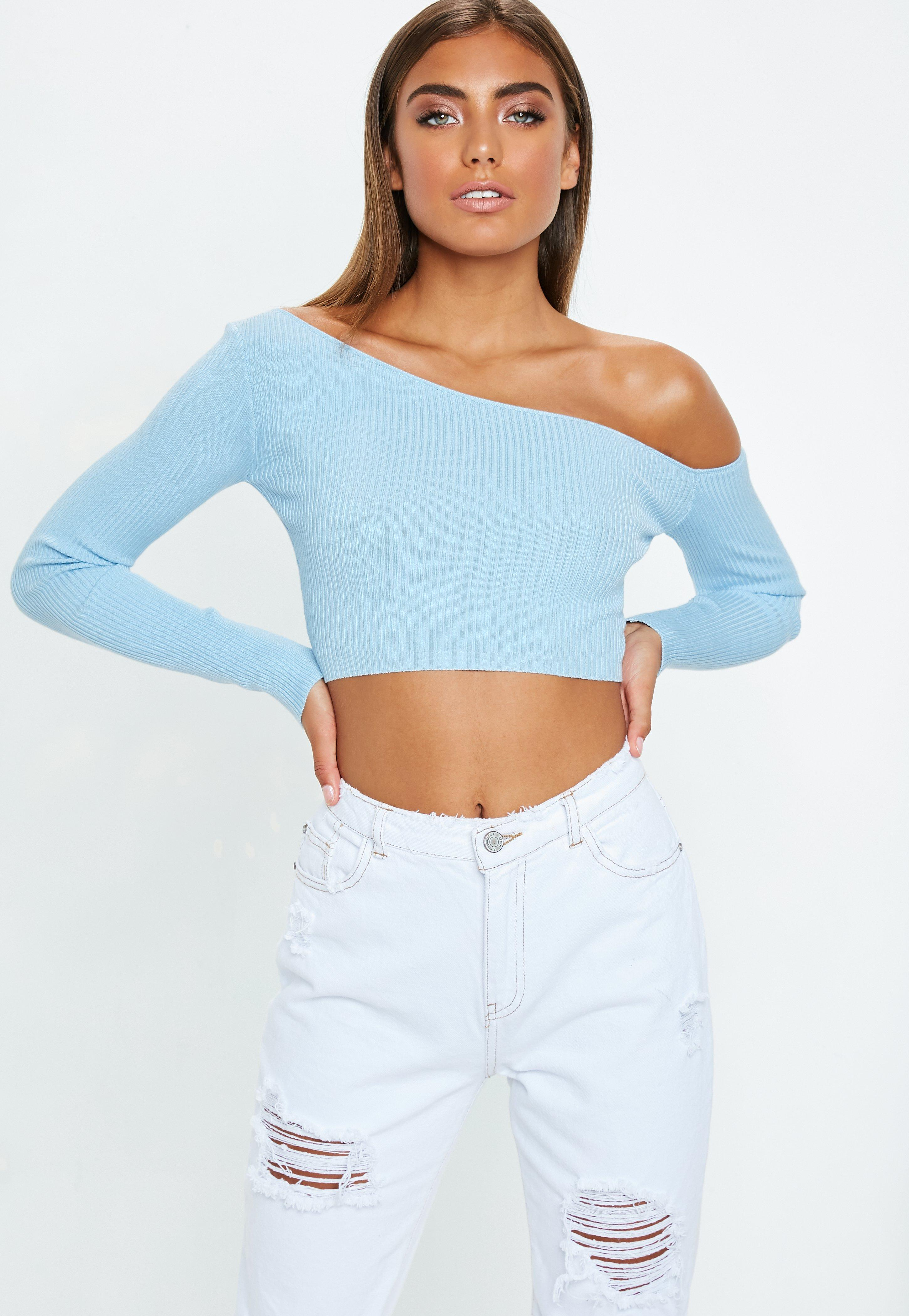 e0f10f0906a86 Blue Ribbed Cropped One Shoulder Knitted Top