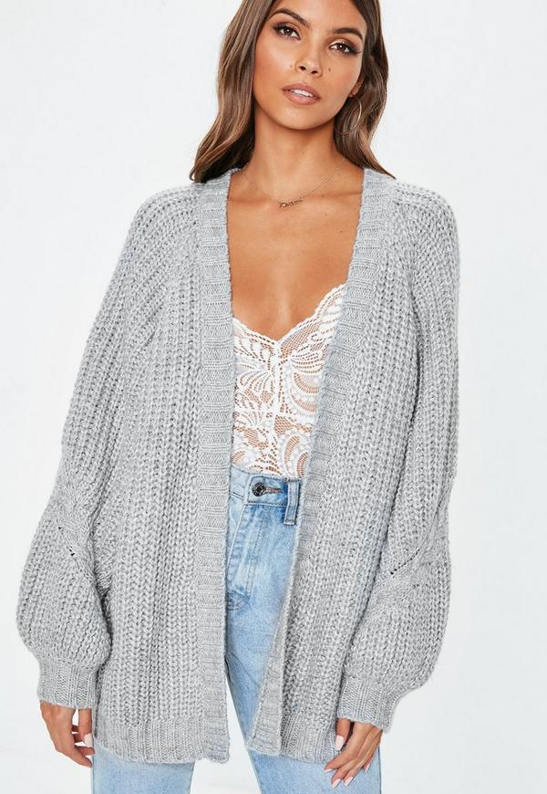1e339fae36 Grey Oversized Batwing Cable Knitted Cardigan. Previous Next