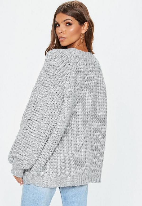 0f9157dfdd2672 ... Grey Oversized Batwing Cable Knitted Cardigan. Previous Next