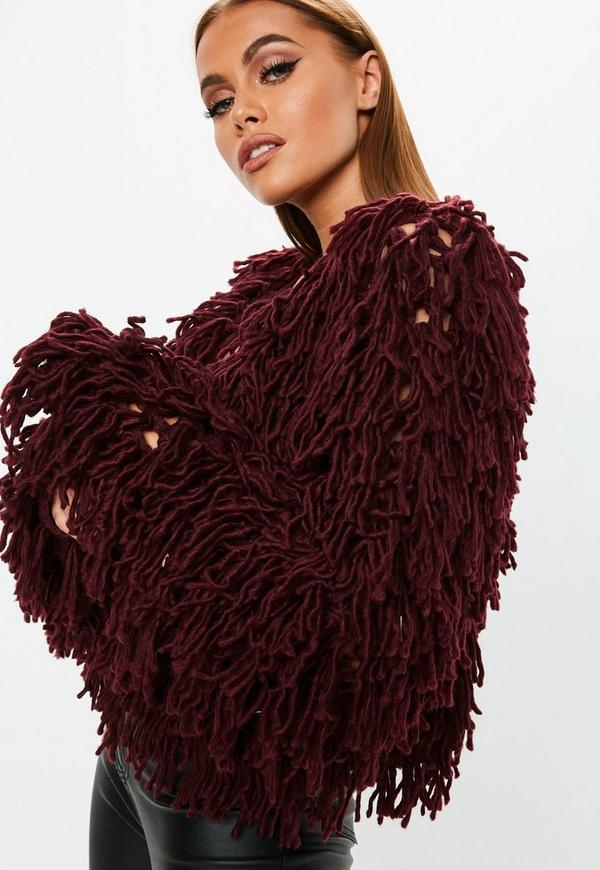 d5f565f90e6631 ... Burgundy shaggy crop knitted cardigan. Previous Next