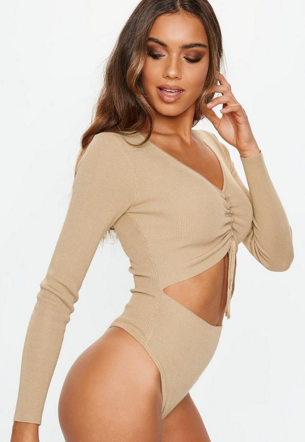 016e886cee Camel Cut Out Knitted Bodysuit. Previous Next