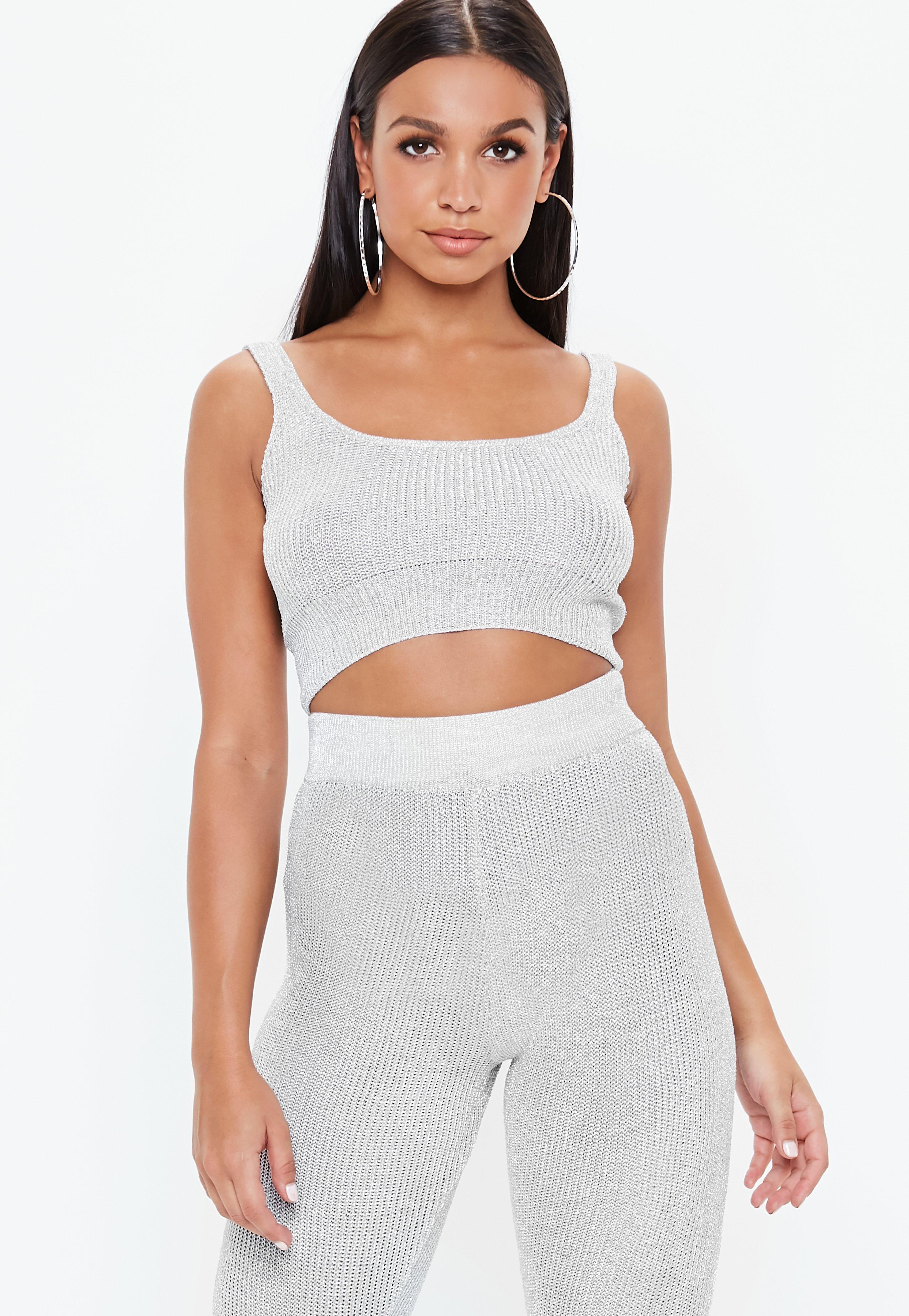 29f4156acbbe7 Silver Metallic Knitted Crop Top