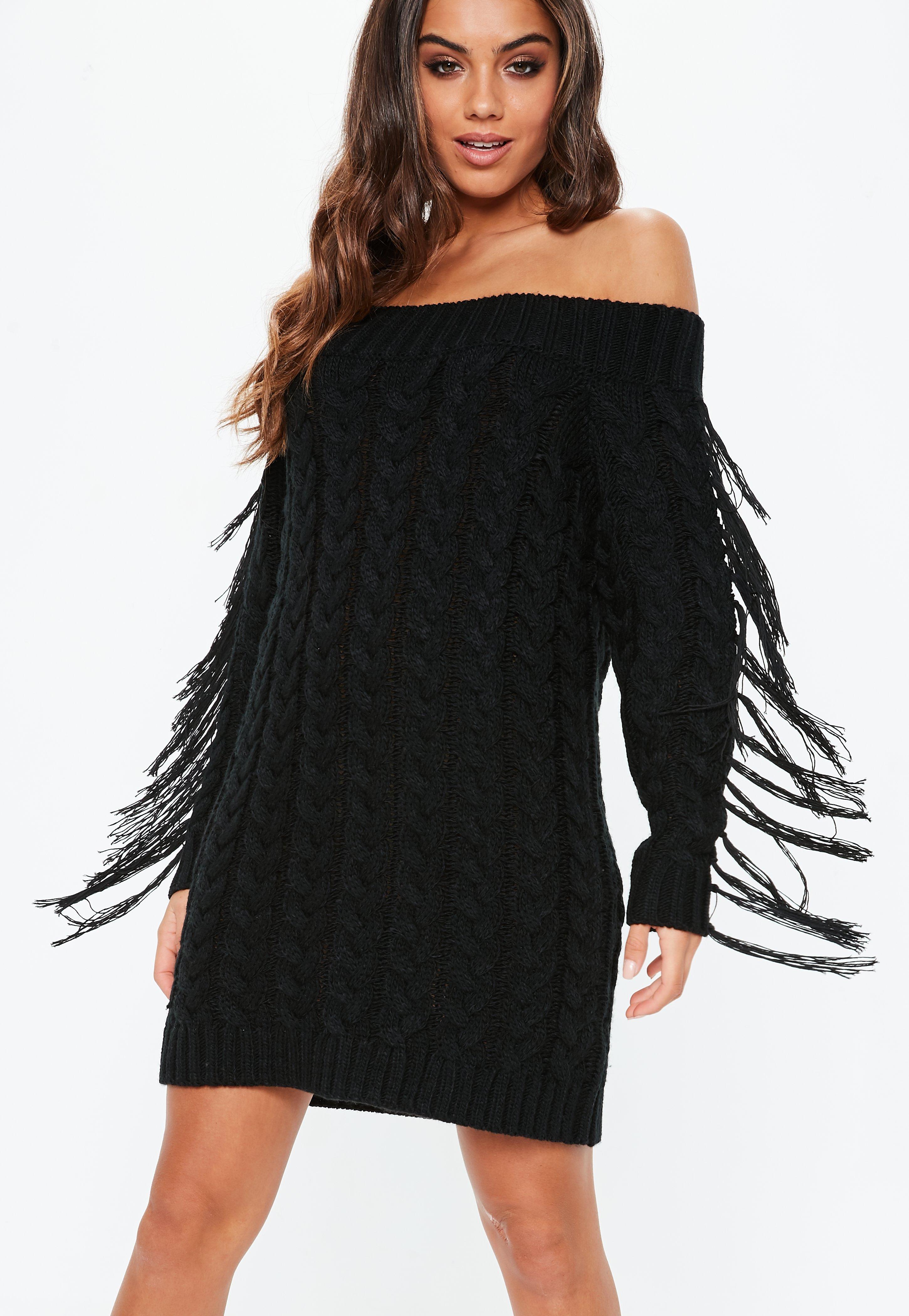 d915fac8f96 Black Fringe Cable Mini Dress | Missguided