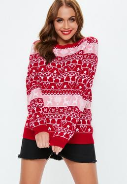 0d2c08c8d1 ... Red Christmas Printed Knitted Jumper
