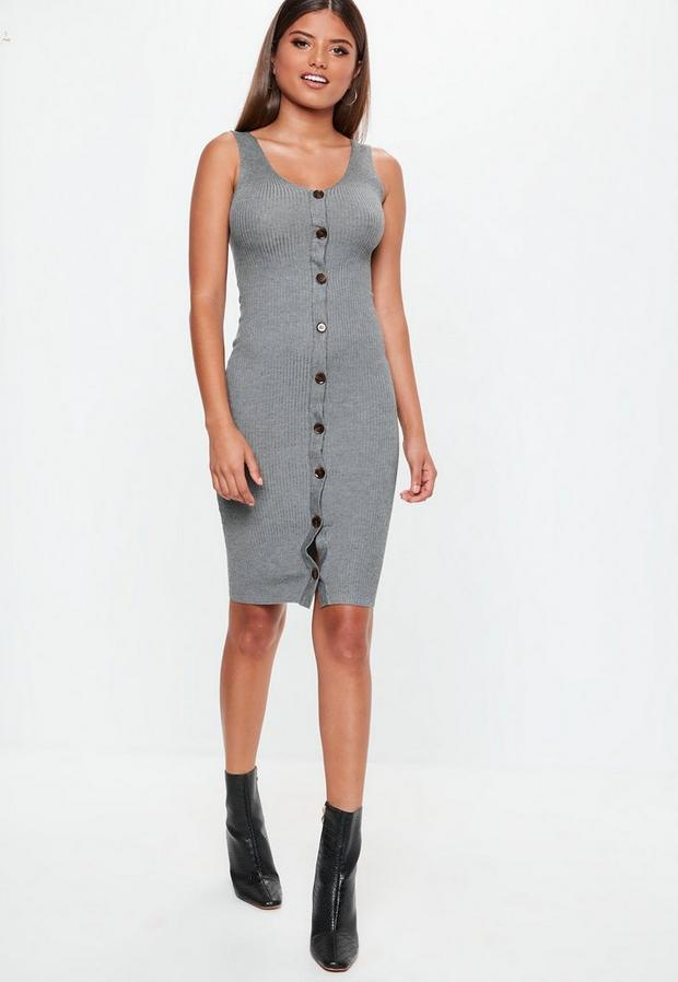 Missguided - Grey Plunge Button Sleeveless Knitted Midi Dress, Grey - 2