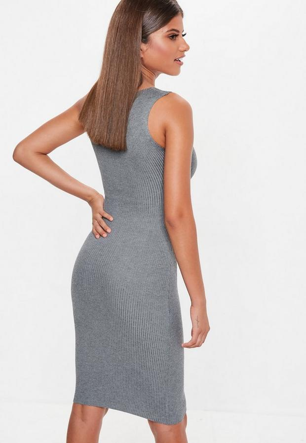 Missguided - Grey Plunge Button Sleeveless Knitted Midi Dress, Grey - 4