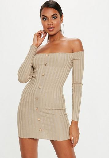 Sand Ribbed Bardot Button Knitted Mini Dress Missguided