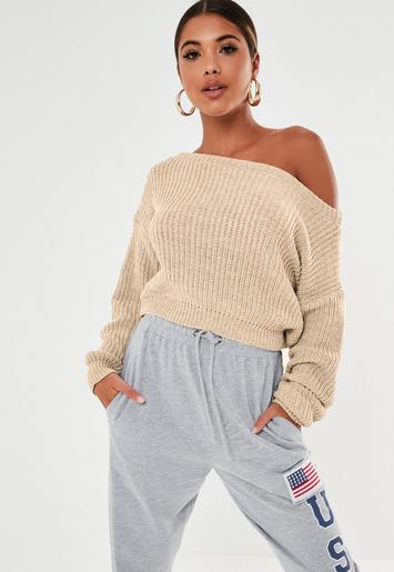 4b06002eeefa2c Nude Crop Off Shoulder Knitted Sweater