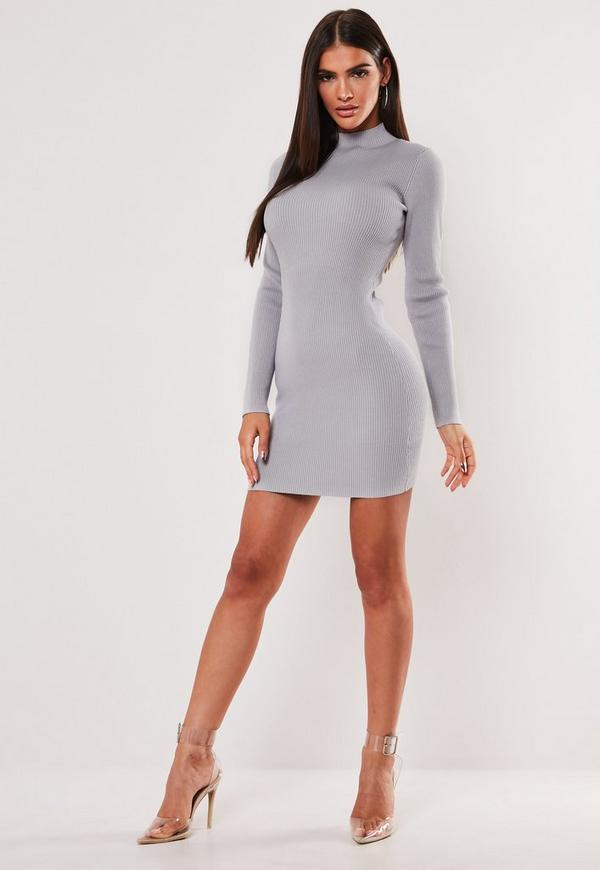 Grey High Neck Knitted Mini Dress by Missguided