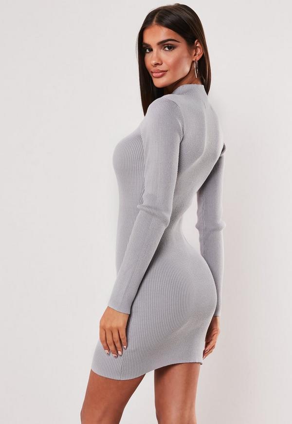 ... Grey High Neck Knitted Mini Dress. Previous Next 5900141d3
