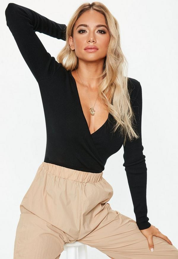 Black Wrap Front Knitted Bodysuit.  44.00. Previous Next bbbd21db7