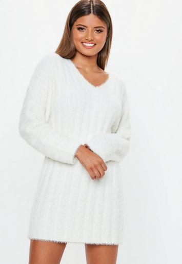 White Fluffy Ribbed Knitted Jumper Dress Missguided