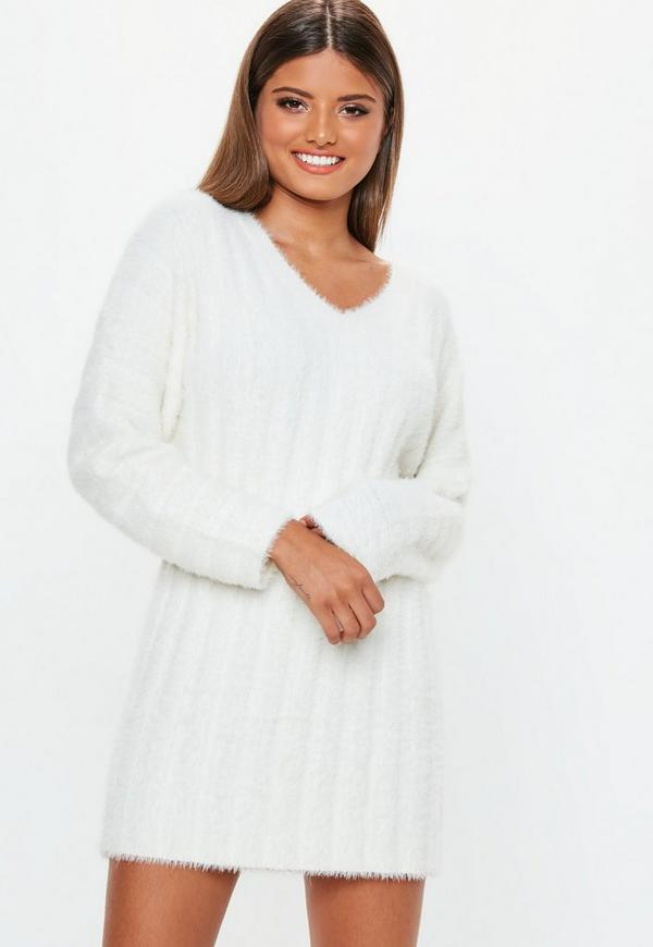 4b88d8b9d2 White Fluffy Ribbed Knitted Jumper Dress