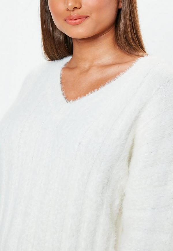 2d825d7620022 ... White Fluffy Ribbed Knitted Sweater Dress. Previous Next