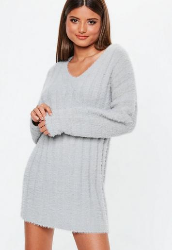 a21b3b32c8b38 Grey Fluffy Ribbed Knitted Jumper Dress