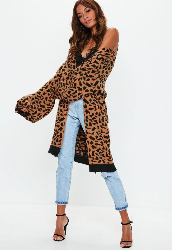 78f176101388f ... Orange Animal Print Knitted Cardigan. Previous Next