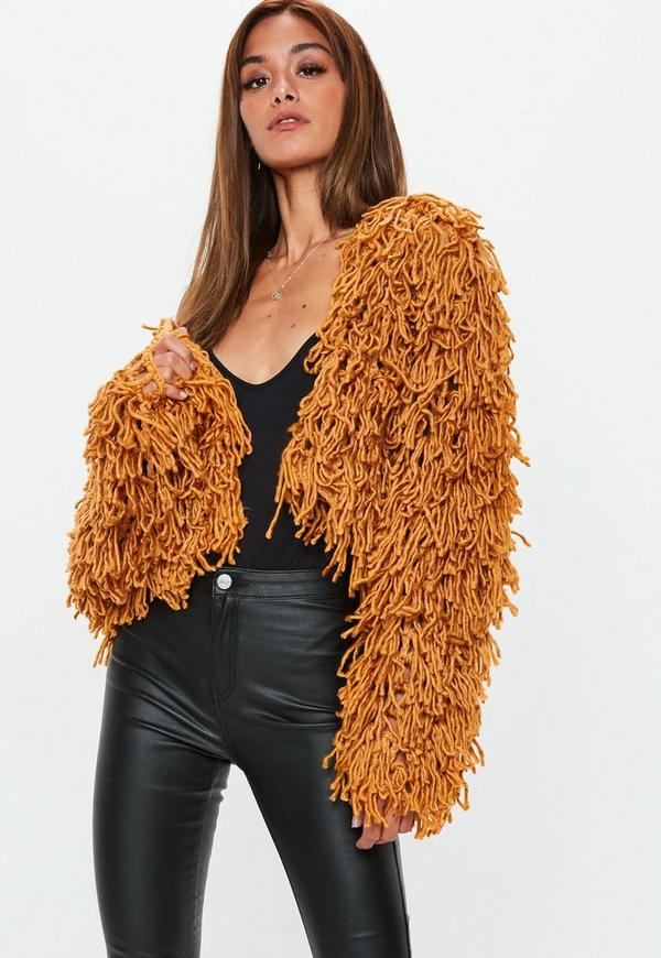 be23d1894 Tan Shaggy Crop Knitted Cardigan