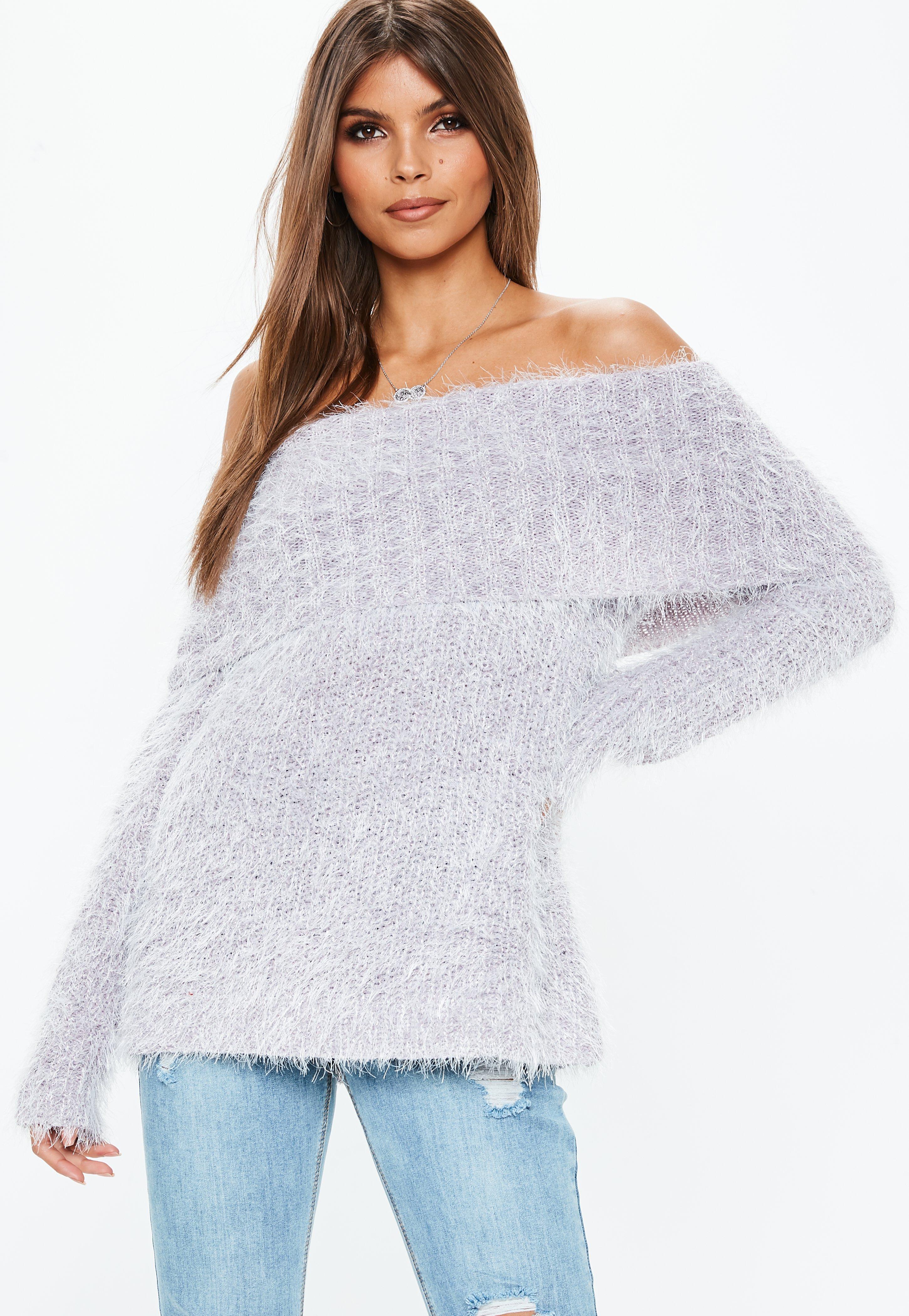 2d152963432 Lilac Glitter Fluffy Bardot Knitted Jumper