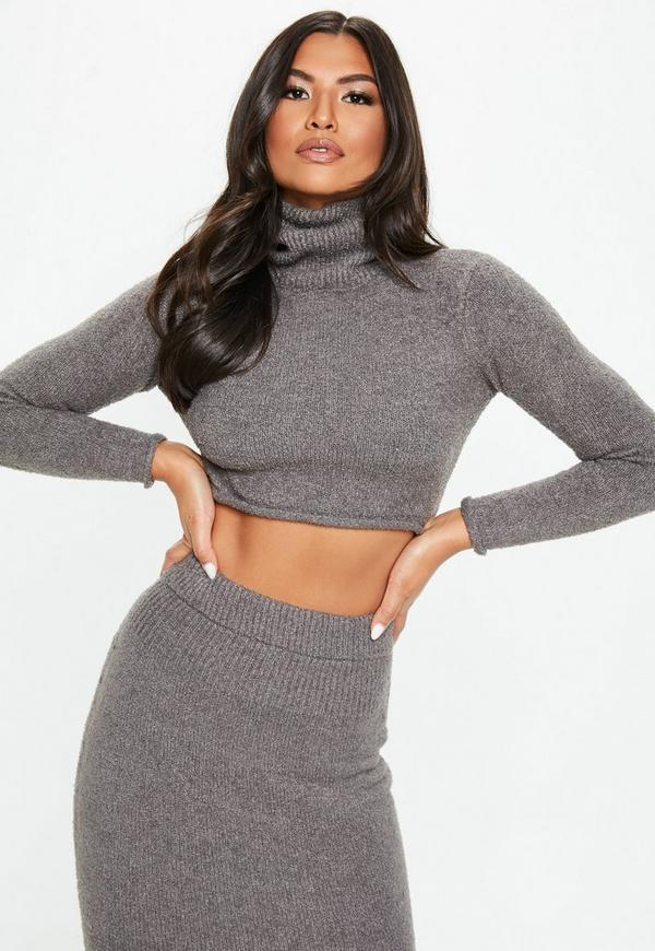 93022701ec7e3 Dark Grey Co Ord Ribbed Knitted Crop Top