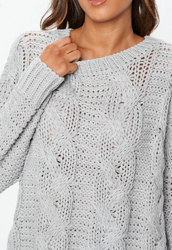 Grey Cable Knitted Boyfriend Jumper   Missguided
