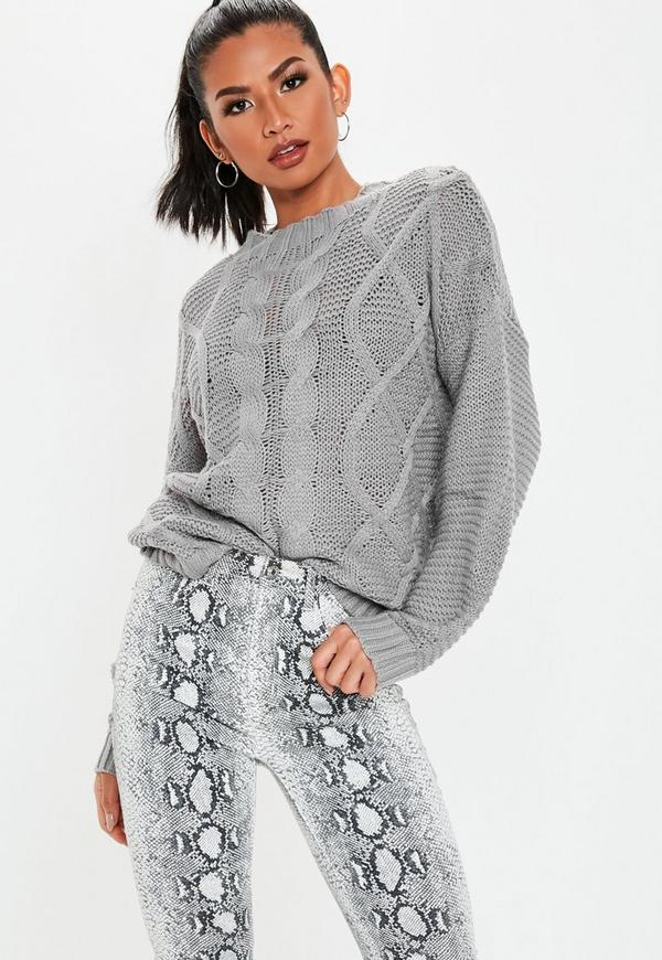 0ad5edf15ddaed ... Grey Cable Knitted Jumper. Previous Next