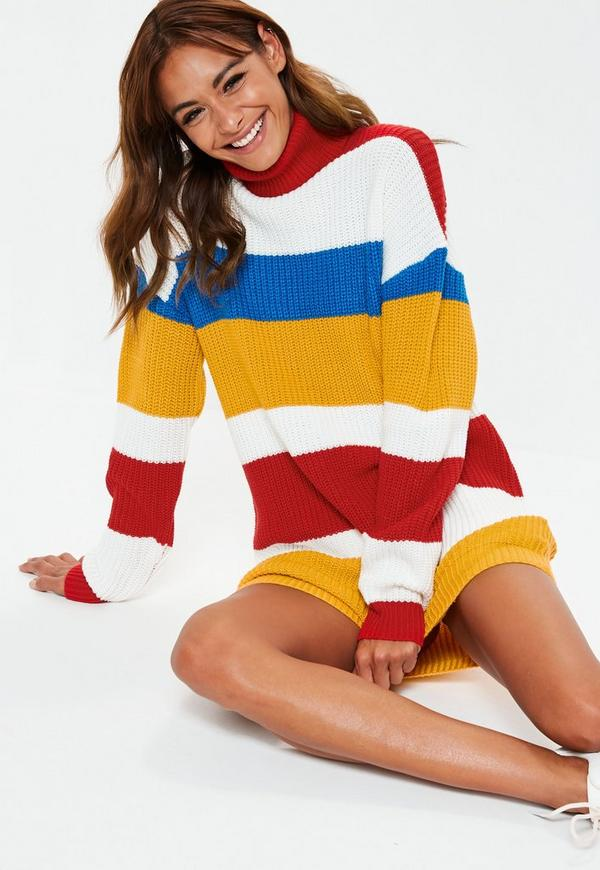 MissGuided robe-pull à col roulé rouge style colorblock